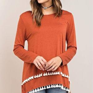 Rust Orange Fall Fringe Long Sleeve Shirt
